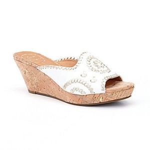 JACK ROGERS White Wedge Sandals NEW 10